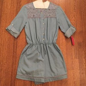 Target Chambray Lace Romper NWT